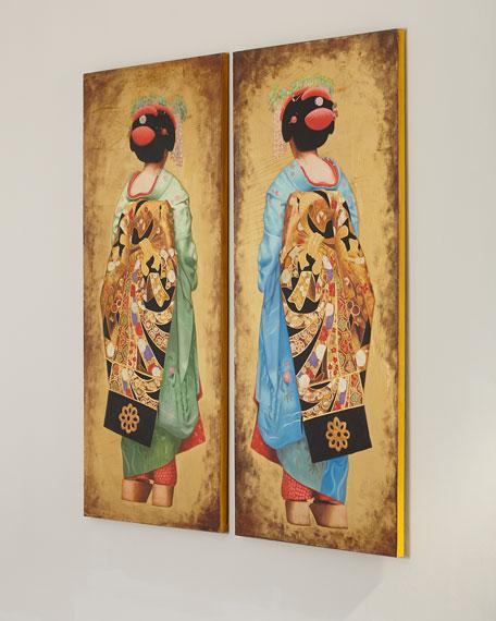 "John-Richard Collection ""Green Geisha"" Painting by Roland Renaud"