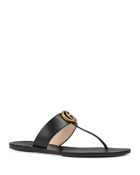 Gucci Flat Marmont Metallic Leather Thong