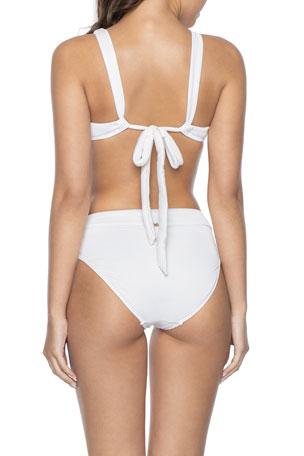 NEW Oasis Red Textured Halterneck Bandeau Bikini Swimming 2 Pcs Set Size 12