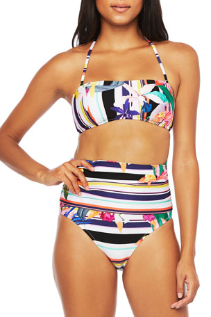 Trina Turk Treasure Cove Adjustable Bandeau Bikini Top Treasure Cove Convertible High-Waist Bikini Bottoms