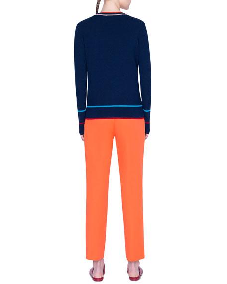 Akris punto Contrast-Trim Wool Cardigan