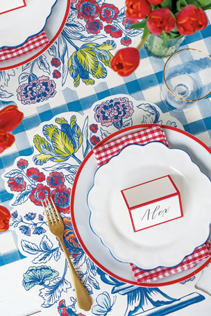 Hester & Cook China Blue Table Setting Decor Collection Gold Stripe Paper Table Runner Set of 12 Jardiniere Paper Placemat