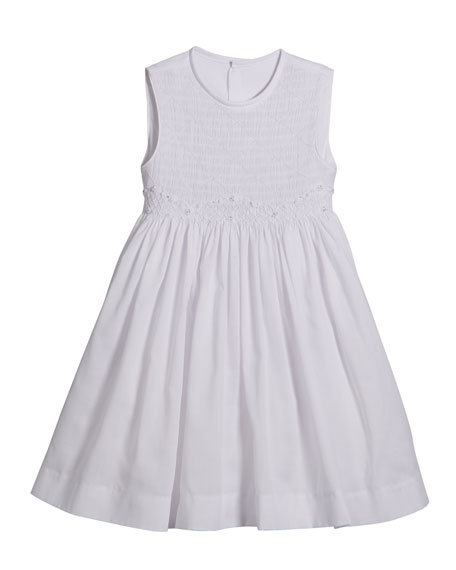 Luli & Me White Smocked Dress, Size 2-4T