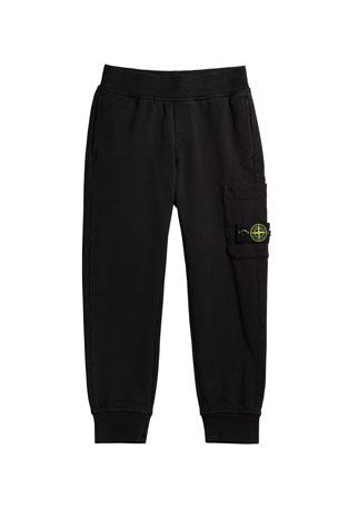 Stone Island Boy's Fleece Sweatpants with Cargo Pocket, Size 2-4