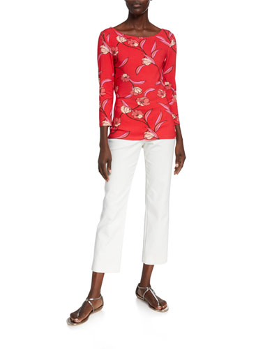 Spring Floral Print Jersey Boat-Neck T-Shirt and Matching Items
