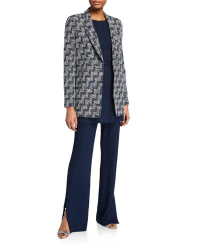 Stepped Wicker Inlay Long Jacket and Matching Items