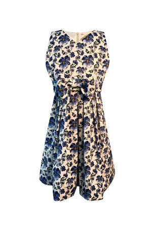 Helena Girl's Floral Print Sleeveless Dress with Bow, Size 4-6 Girl's Floral Print Sleeveless Dress with Bow, Size 7-14
