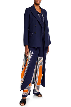Rosetta Getty Double-Breasted Crepe Blazer Jacket Scarf Print Crepe de Chine Dress Pintucked Flare Pants