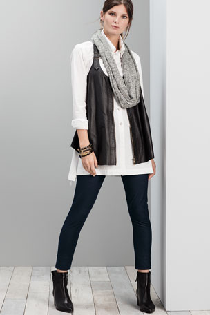 XCVI Upstage Perforated Leather Moto Vest Classic Button Bell Tunic Denim Knit Leggings