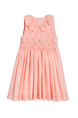 Luli & Me Girl's Coral Smocked Dress, Size 2-4T Girl's Coral Smocked Dress, Size 4-6X