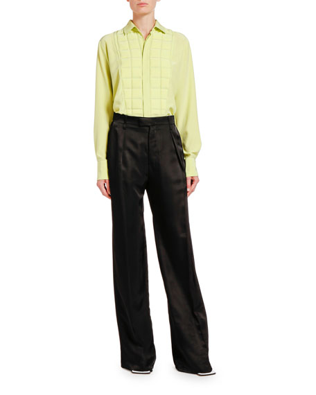 Bottega Veneta Square-Bibbed Silk Button-Front Shirt