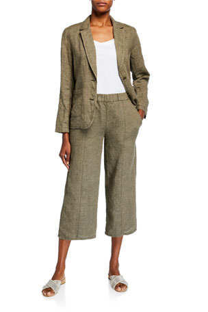 Eileen Fisher Washed Organic Linen Delave Shaped Blazer U-Neck Short-Sleeve Organic Cotton Jersey Tee Organic Washed Linen Wide-Leg Cropped Pull-On Pants