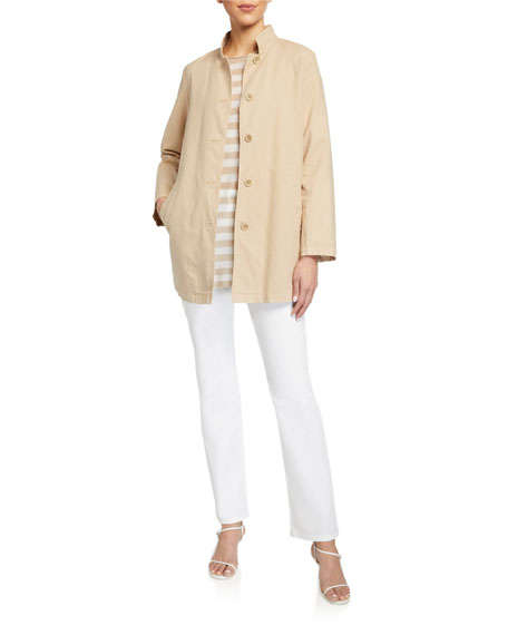 Eileen Fisher Stand-Collar Button-Front Canvas Jacket