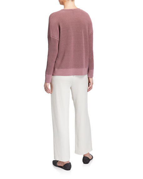 Eileen Fisher Corded V-Neck Long-Sleeve Sweater