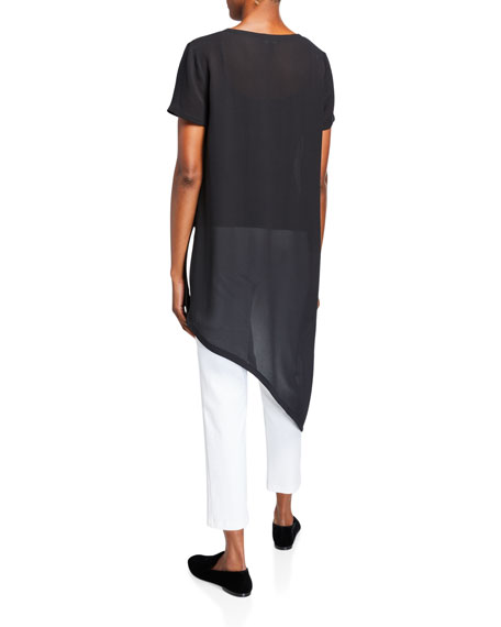 Eileen Fisher Textured Silk Mesh Asymmetrical Long Tunic