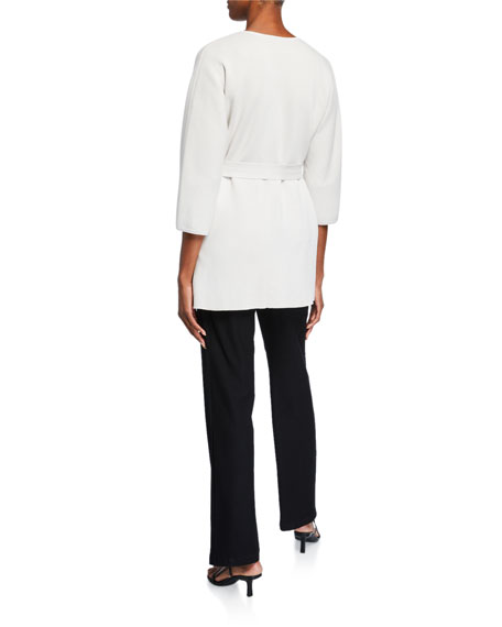Eileen Fisher Silk/Organic Cotton Interlock Belted Wrap Cardigan