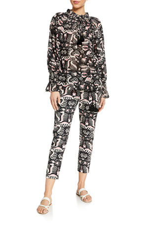 Figue Lianna Abstract Print High-Neck Top Zulu Cotton Pants