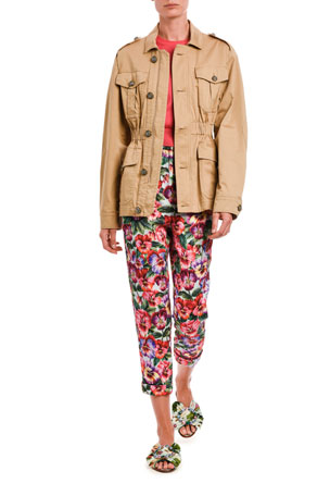Dolce & Gabbana Stretch Cotton Camp Jacket Silk Crewneck Sweater Floral Stretch Brocade Cropped Pants