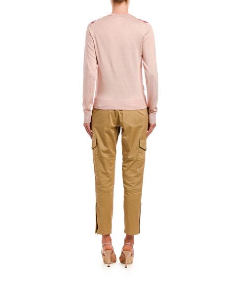 Dolce & Gabbana Silk Floral-Front Sweater