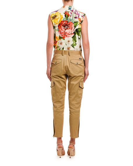 Dolce & Gabbana Vibrant Floral Poplin Sleeveless Shirt