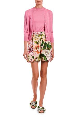 Dolce & Gabbana V-Neck Long-Sleeve Button-Front Knit Cardigan Sleeveless Knit Shell