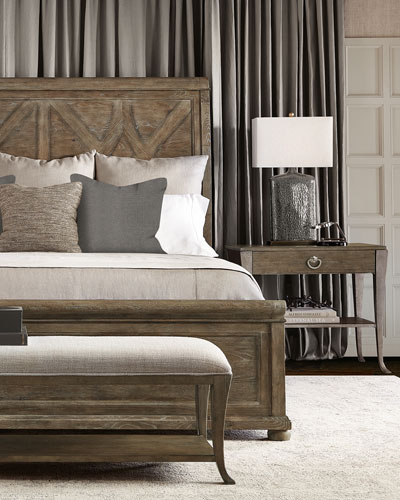 Rustic Patina Fancy Panel Bed - King and Matching Items