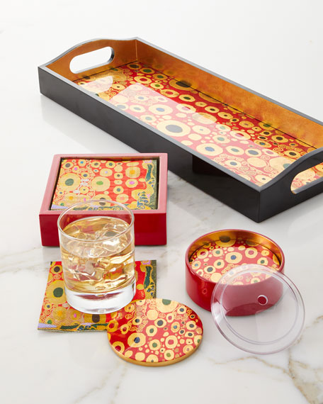 Caspari Viennese Nouveau Red Bar Tray