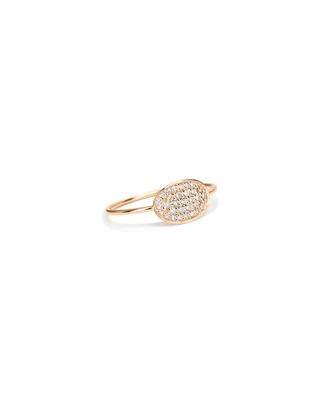 GINETTE NY 18k Rose Gold White Diamond Mini Sequin Ring, Size 6