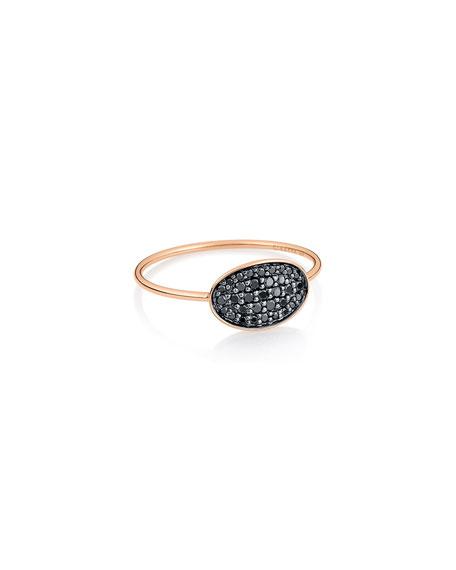 GINETTE NY 18k Rose Gold Black Diamond Mini Sequin Ring, Size 6