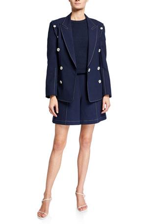 ADEAM Nautical Tailored Jacket Smocked Short-Sleeve Sweater Sailor Wide-Leg Shorts