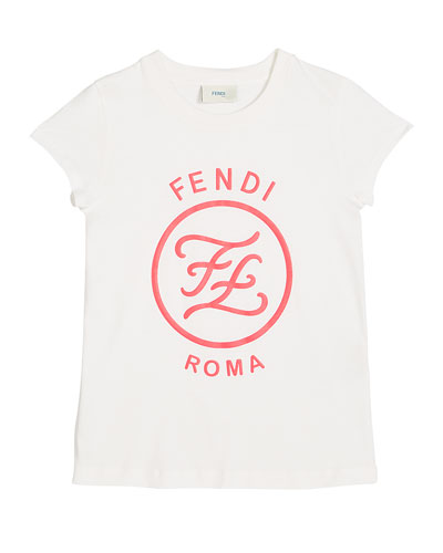 Girl's Short-Sleeve Large Logo T-Shirt  Size 4-6  White and Matching Items