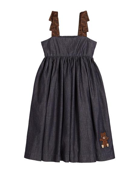 Fendi Girl's Chambray FF-Trim Sleeveless Dress, Size 4-6