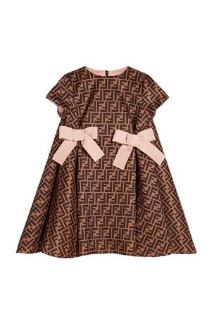 Fendi Girl's FF Neoprene Dress w/ Bows, Size 4-6 Girl's FF Neoprene Dress w/ Bows, Size 8-14