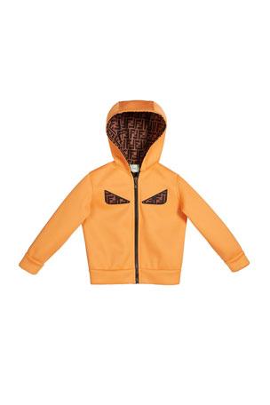 Fendi Boy's Reversible Hooded Logo Jacket with Eyes, Size 4-6 Boy's Reversible Hooded Logo Jacket with Eyes, Size 8-14