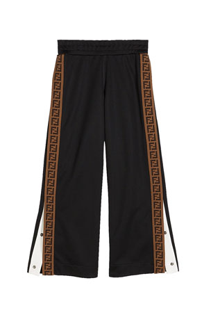 Fendi Boy's Track Pants with Logo Side-Trim, Size 4-6 Boy's Track Pants with Logo Side-Trim, Size 8-14