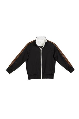 Fendi Boy's Zip-Front Track Jacket w/ FF Logo Tape, Size 4-6 Boy's Zip-Front Track Jacket w/ FF Logo Tape, Size 8-14