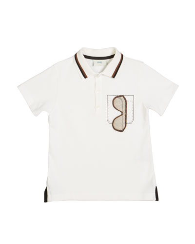 Boy's Sunglasses Graphic Polo Shirt  Size 4-6  White and Matching Items