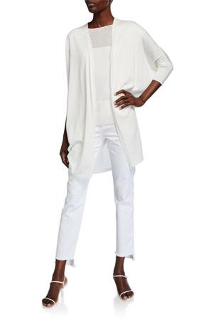 Lafayette 148 New York Open-Front Cotton-Silk Combo Cardigan Sheer Front Cap-Sleeve Top