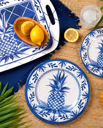 Blue Pineapple Bamboo Salad Plates  Set of 4  and Matching Items