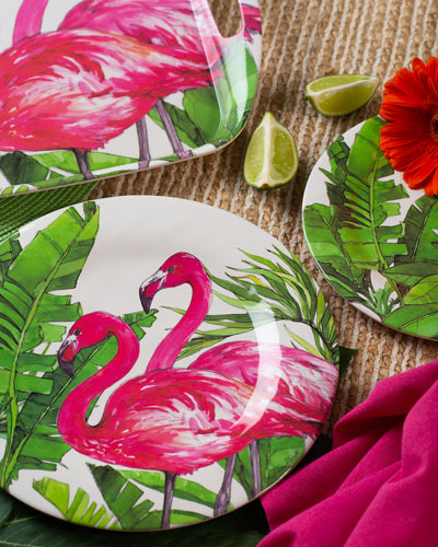 Flamingo Tropics Bamboo Dinner Plates  Set of 4  and Matching Items