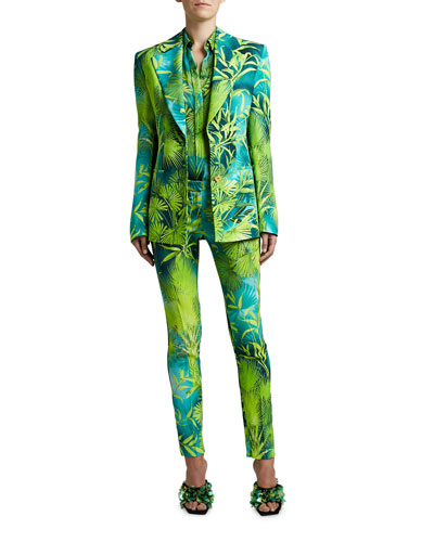 Palm Print Crepe Blazer and Matching Items