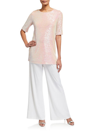 Caroline Rose Petite Sequin Knit Easy Tee Petite Stretch-Knit Wide-Leg Pants