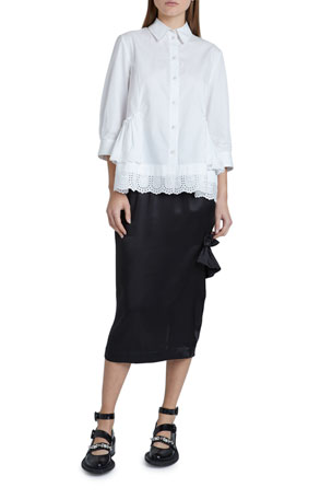 Simone Rocha Cotton Poplin 3/4-Sleeve Frill-Hem Button-Down Top Satin Side-Frill Midi Skirt