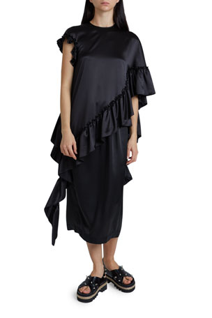 Simone Rocha Long Drape Asymmetrical Satin Frill Top Satin Side-Frill Midi Skirt