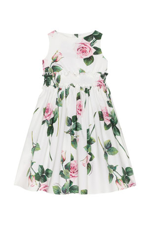 Dolce & Gabbana Girl's Tropical Rose Shirred Waist Dress, Size 4-6 Girl's Tropical Rose Shirred Waist Dress, Size 8-12