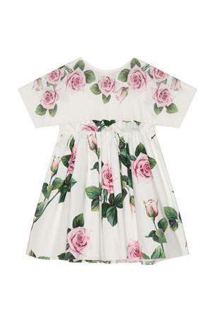Dolce & Gabbana Girl's Rose Print Combo Knit Top Dress, Size 4-6 Girl's Rose Print Combo Knit Top Dress, Size 8-12