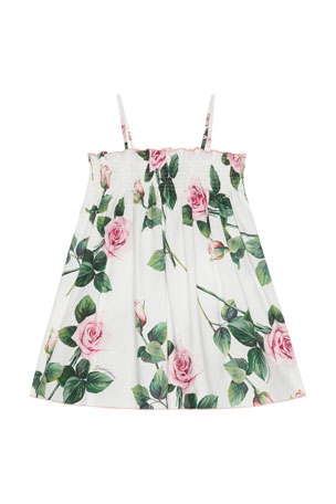 Dolce & Gabbana Girl's Tropical Rose Shirred Dress, Size 9M-6 Girl's Tropical Rose Shirred Dress, Size 8-12