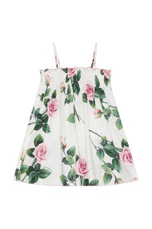 Dolce & Gabbana Girl's Tropical Rose Shirred Dress, Size 9M-6 Girl's Tropical Rose Shirred Dress, Size 8-12