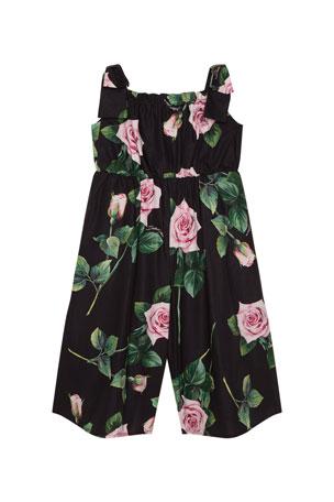 Dolce & Gabbana Girl's Popeline Rosa Rose Print Jumpsuit, Size 4-6 Girl's Popeline Rosa Rose Print Jumpsuit, Size 8-12