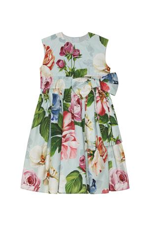 Dolce & Gabbana Girl's Floral Print Shirred Waist Dress, Size 8-12 Girl's Floral Print Shirred Waist Dress, Size 4-6